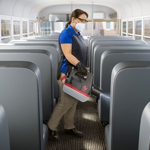 Hoover Commercial Electrostatic Sprayer in Bus