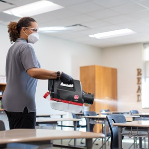 Hoover Commercial Electrostatic Sprayer in Classroom
